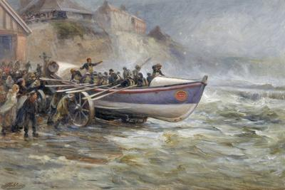 Launching the Cullerboats Lifeboat, 1902-Robert Jobling-Giclee Print