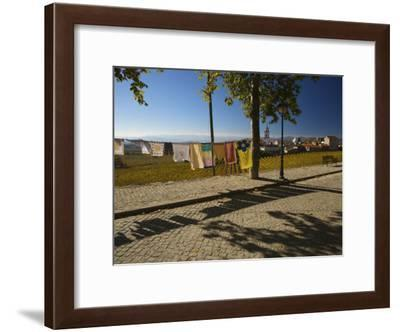 Laundry Hung Out to Dry Above the Hillside Town of Favaios-Michael Melford-Framed Photographic Print