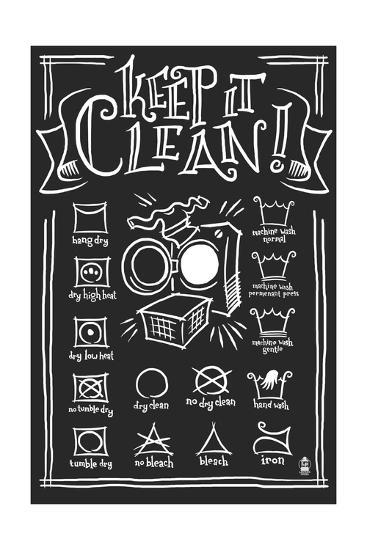 Laundry Symbols (Black)-Lantern Press-Art Print