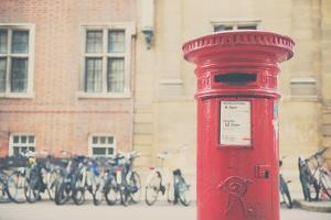Bikes and Red Letter Box in Cambridge by Laura Evans