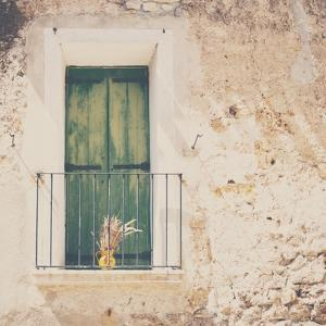 French Balcony with Shutters in Summer by Laura Evans