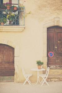 French Street Scene with Table and Chairs by Laura Evans