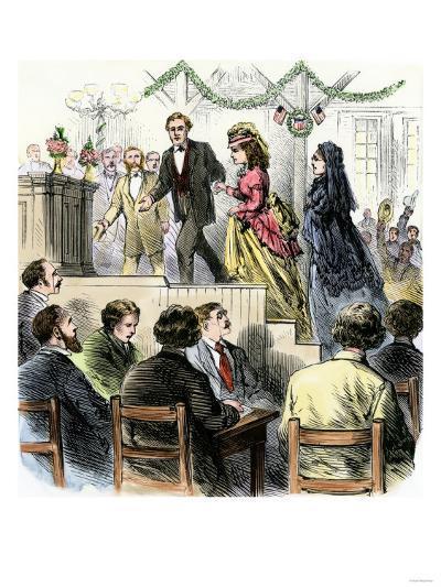 Laura Gordon and Susan B. Anthony Escorted to Speak in Cincinnati, 1870s--Giclee Print