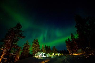 Aurora Borealis (The Northern Lights) over Kakslauttanen Igloo West Village, Saariselka, Finland