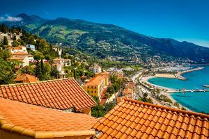City View of Medieval Menton, Alpes-Maritimes, Cote D'Azur, Provence, French Riviera by Laura Grier