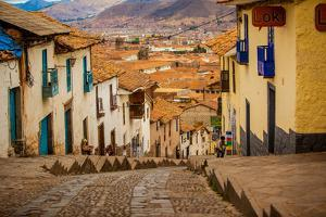 Cobblestone Street Scene, Cusco, Peru, South America by Laura Grier
