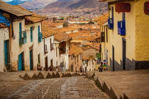 Cobblestone Street Scene, Cusco, Peru, South America by Laura Grier