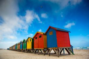 Colorful Beach Shacks, Muizenberg Beach, Cape Town, South Africa, Africa by Laura Grier
