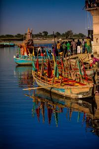 Colorful Boats at the Holi Festival, Vrindavan, Uttar Pradesh, India, Asia by Laura Grier