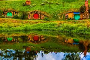Hobbit Houses, Hobbiton, North Island, New Zealand, Pacific by Laura Grier