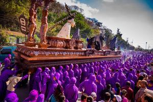 Holy Week Carpetas Parade, Antigua, Guatemala, Central America by Laura Grier