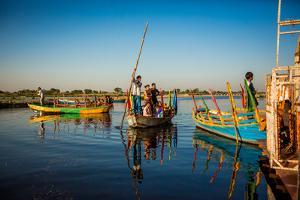 Indian Gondoliers, Flower Holi Festival, Vrindavan, Uttar Pradesh, India, Asia by Laura Grier