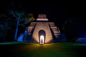 Night Portrait of Pyramid at Tikal, UNESCO World Heritage Site, Guatemala, Central America by Laura Grier