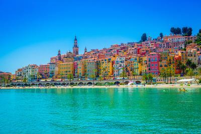 Skyline of Menton, Alpes-Maritimes, Cote D'Azur, Provence, French Riviera