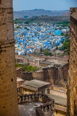The View from Mehrangarh Fort of the Blue Rooftops in Jodhpur, the Blue City, Rajasthan