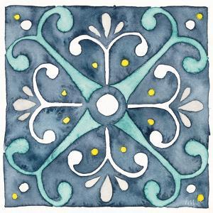Garden Getaway Tile III Blue by Laura Marshall