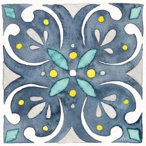 Garden Getaway Tile IV Blue by Laura Marshall