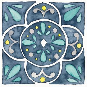 Garden Getaway Tile VII Blue by Laura Marshall