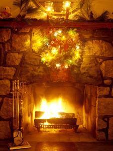 Christmas Wreath Over Fireplace by Lauree Feldman