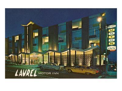 Laurel Motor Inn at Night--Art Print