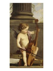 Putto jouant de la basse de viole by Laurent de La Hyre