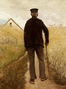 Old Man Walking in a Rye Field by Laurits Andersen Ring