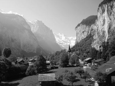Lauterbrunnen and Staubbach Falls, Jungfrau Region, Swiss Alps, Switzerland, Europe-Roy Rainford-Photographic Print