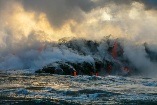 Lava Boat Tour, Kilauea Volcano, Hawaii Volcanoes National Park, Hawaii-Douglas Peebles-Premium Photographic Print
