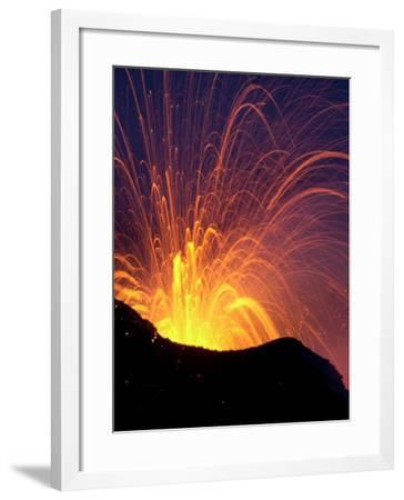 Lava Bursts from Mount Etna, Near Nicolosi, Italy, Wednesday July 25, 2001-Pier Paolo Cito-Framed Photographic Print
