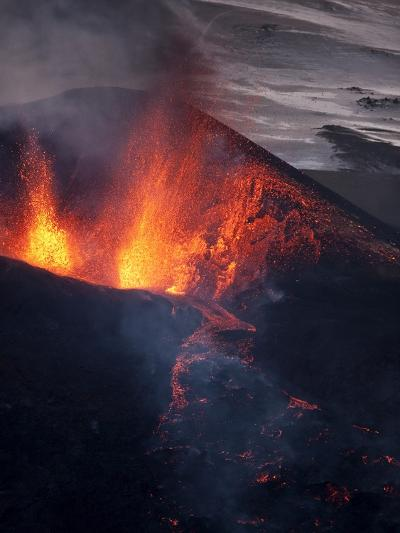 Lava erupting from Eyjafjallajokull--Photographic Print