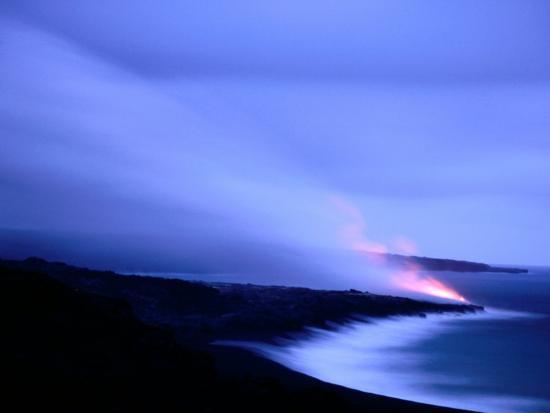 Lava Flow at Dusk, Volcanoes National Park, Hawaii, Hawaii-Holger Leue-Photographic Print