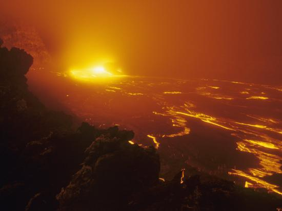 Lava Flow from the Kilauea Volcano Heats Up the Pacific Ocean, Hawaii, USA-G. Brad Lewis-Photographic Print