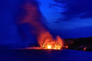Lava Flowing into Ocean, Hawai'I Volcanoes National Park, Kilauea Volcano, Big Island, Hawaii, Usa