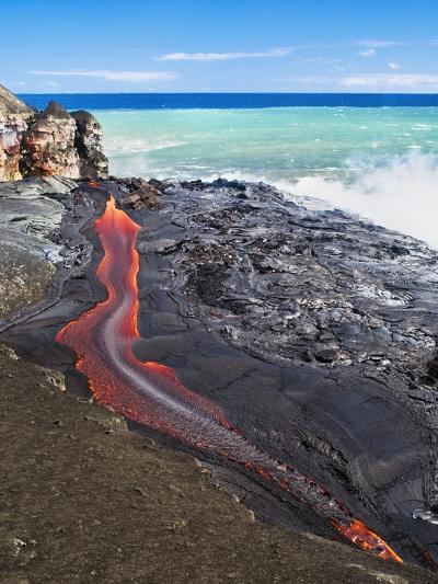 Lava Flowing Into Ocean, Hawaii-David Nunuk-Photographic Print