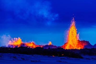 Lava Fountains at the Holuhraun Fissure Eruption Near Bardarbunga Volcano, Iceland--Photographic Print