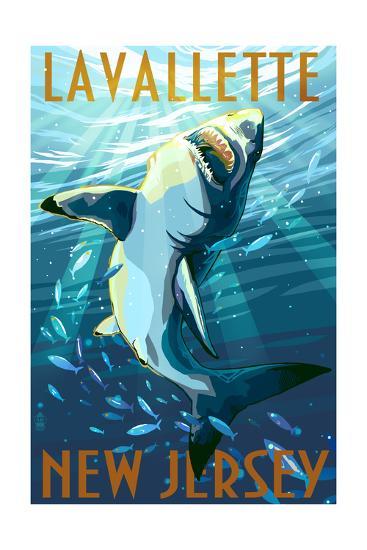 Lavallette, New Jersey - Great White Shark-Lantern Press-Art Print