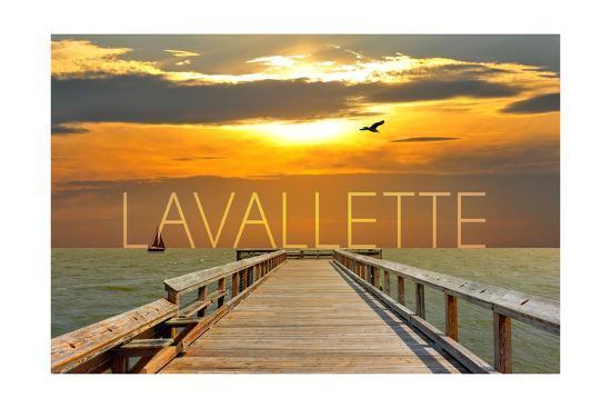 Lavallette, New Jersey - Pier at Sunset-Lantern Press-Art Print