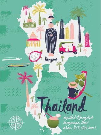 Cartoon Map of Thailand. Print Design