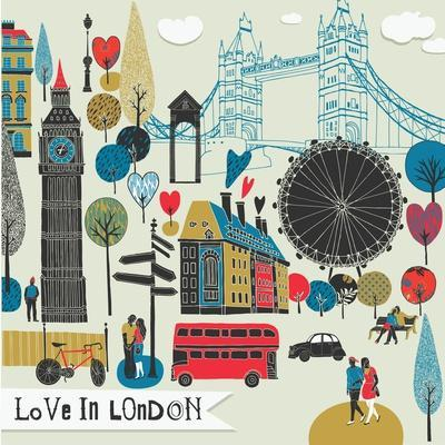 Colorful Illustration of London Landmarks