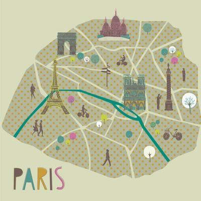 Paris Map Greeting Card Design