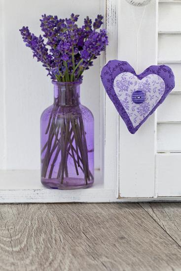Lavender, Blossoms, Vase, Heart-Andrea Haase-Photographic Print