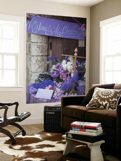 Lavender Display in Shop, Gubbio, Umbria, Italy-Ian Trower-Wall Mural