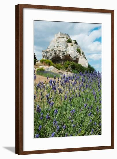 Lavender Field in Front of Ruins of Fortress on a Rock, Les Baux-De-Provence, Bouches-Du-Rhone--Framed Photographic Print