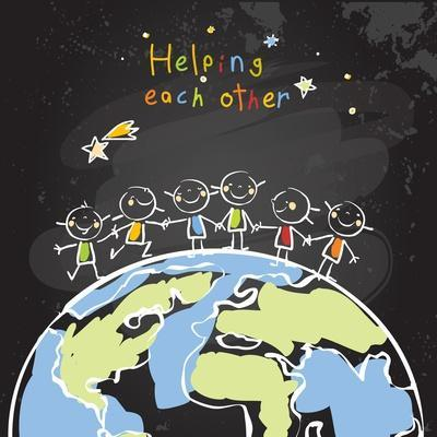 Kids Helping Each Other, Global Friendship, Unity Concept Vector Illustration. Children Being Toget