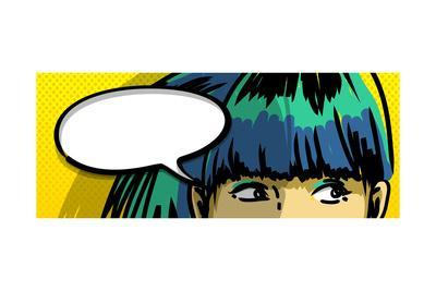 Pensive Girl Comic Books Style Drawing, Blank Speech Bubble