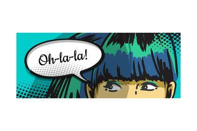 Woman Peeking Out, Cartoon Comics Speech Bubble