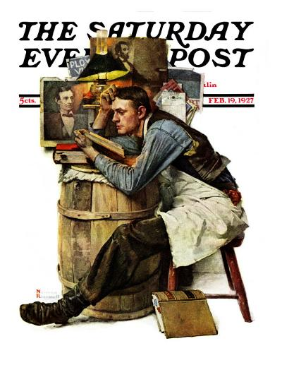 """Law Student"" Saturday Evening Post Cover, February 19,1927-Norman Rockwell-Giclee Print"