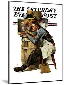 """""""Law Student"""" Saturday Evening Post Cover, February 19,1927-Norman Rockwell-Mounted Giclee Print"""