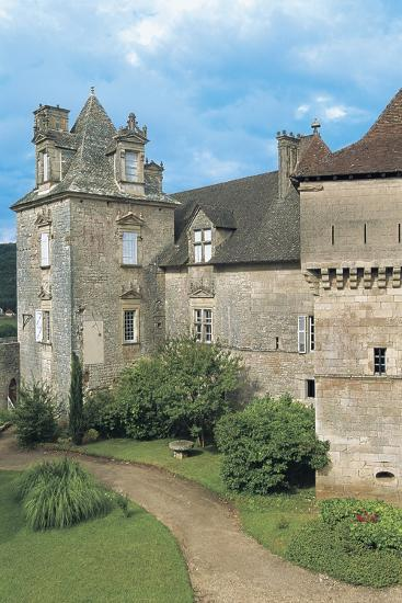 Lawn in Front of a Castle, Cenevieres Castle, Midi-Pyrenees, France--Photographic Print