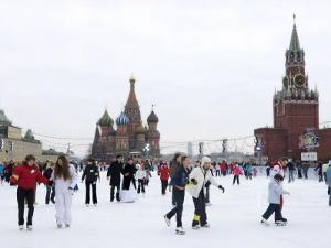 Ice Skating in Red Square, UNESCO World Heritage Site, Moscow, Russia, Europe by Lawrence Graham